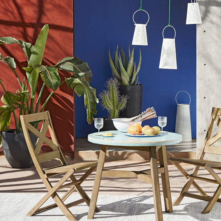 Blue bistro table from West Elm