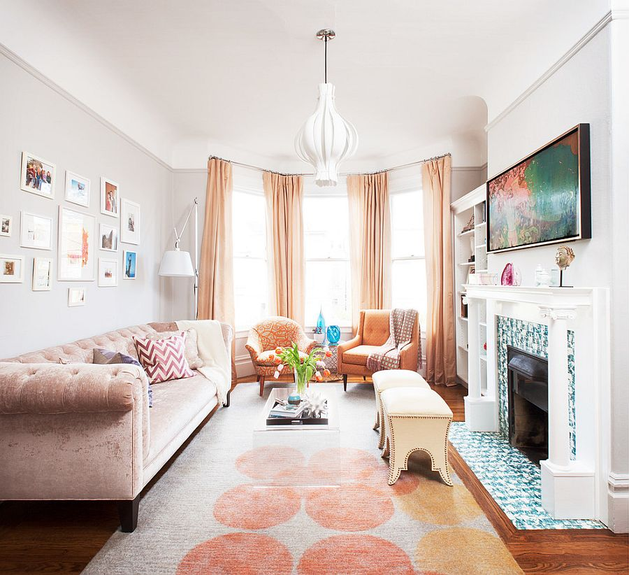 Blush-velvet Chesterfield sofa for the chic Victorian living room [Design: Coddington Design]