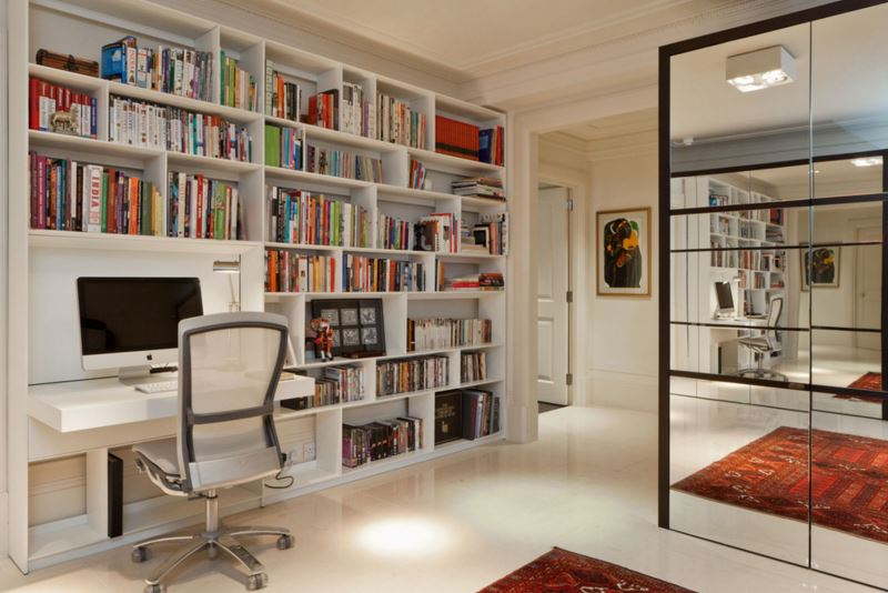 view in gallery bookshelf with a folddown desk - Fold Down Table