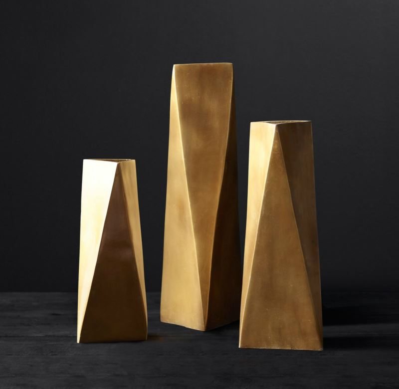Brass geometric vases from RH Modern
