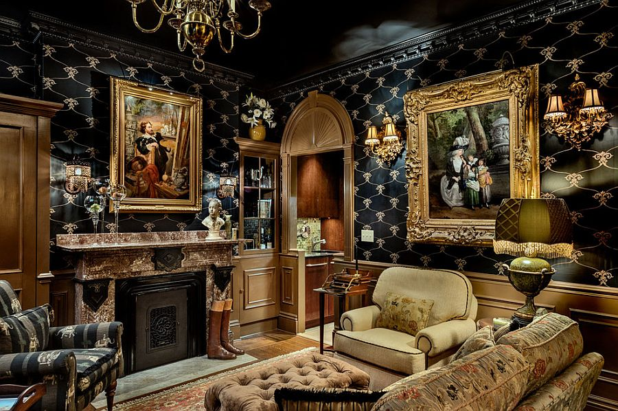 View In Gallery Brilliant Living Room With Black, Gold And Ornate Design [ Design: TMS Architects]
