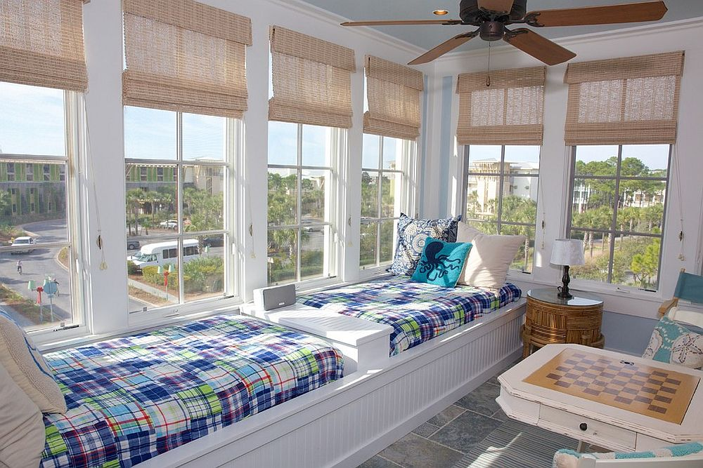 Built-in beds create a more relaxed setting inside the sunroom [From: VRBO]