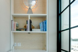 Built-in bookshelf with a fold-down desk