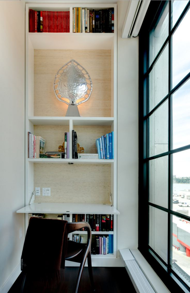 View In Gallery Built Bookshelf With A Fold Down Desk