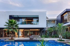 C-shaped design of the house creats a natural, private courtyard