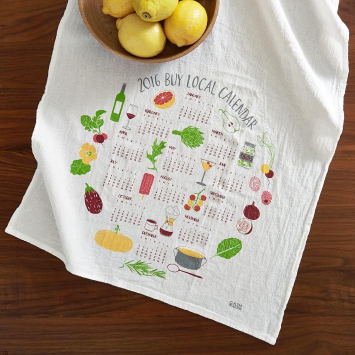 Calendar tea towel from West Elm
