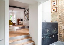 Chalkboard drawers in the kitchen create a fun, interactive feature