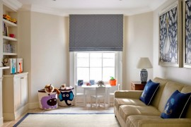 Child-friendly family room with storage baskets