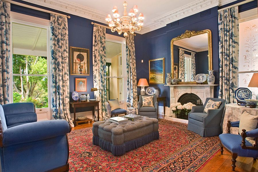 Classic Victorian living room in blue and gold Feast for the Senses: 25 Vivacious Victorian Living Rooms