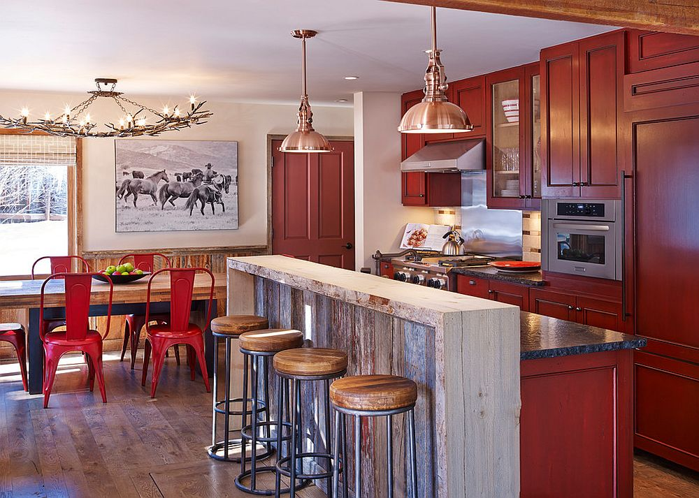 Classic chair brings color to the rustic dining room [Design: Laura U]