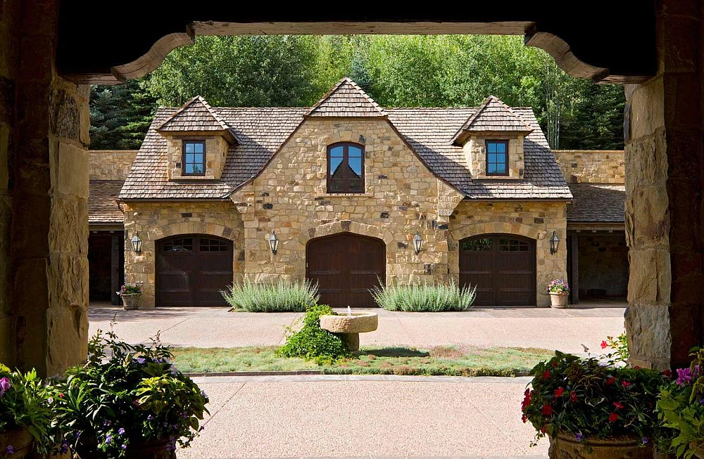 Classic stone exterior of the fabulous rustic ranch