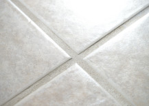 Clean bathroom tile grout