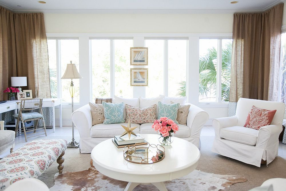 Coastal sunroom also doubles as a tranquil work zone [Design: Low Country Interiors]