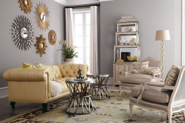 Collection of sunburst and starburst mirrors enlivens the living room
