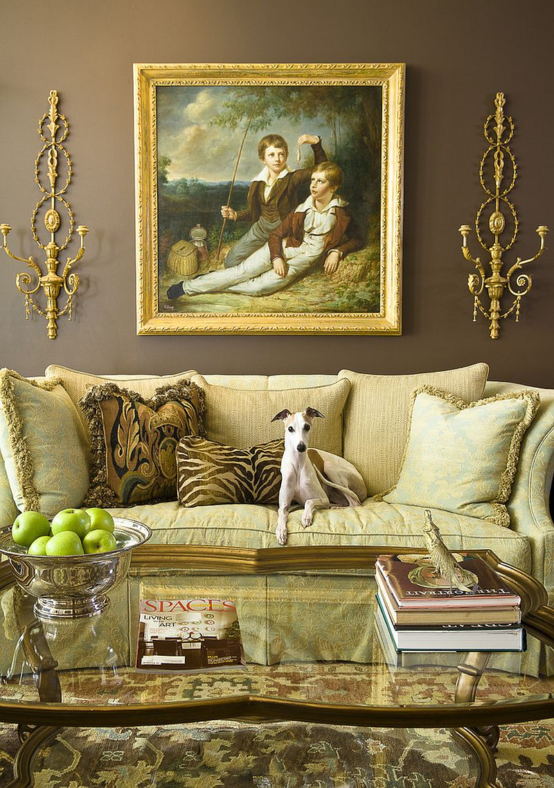 Color of the couch seems to elevate the opulence of the room Feast for the Senses: 25 Vivacious Victorian Living Rooms