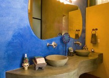 Colorful bathroom with a cozy rustic appeal 217x155 Trendy Twist to a Timeless Color Scheme: Bathrooms in Blue and Yellow