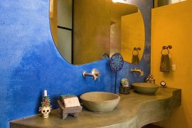 Colorful bathroom with a cozy, rustic appeal