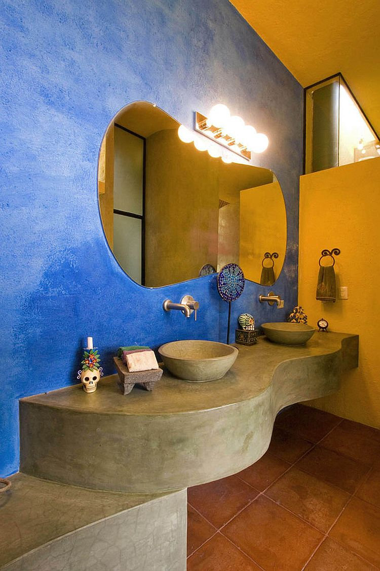 Colorful bathroom with a cozy, rustic appeal [Design: House + House Architects]