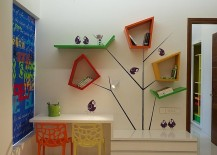 Colorful, custom shelves are perfect for a vivacious kids' room