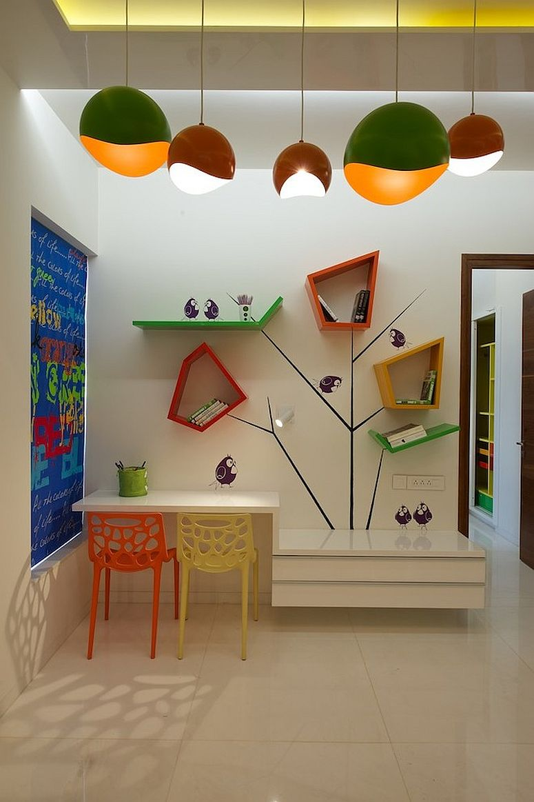 View In Gallery Colorful Custom Shelves Are Perfect For A Vivacious Kids Room Design Sak