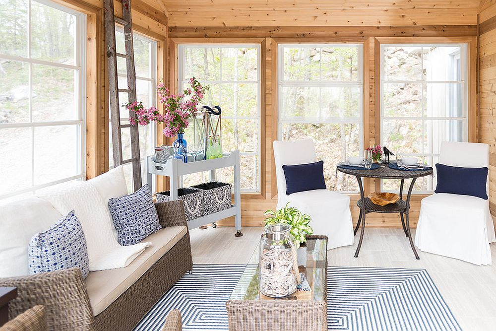 Combine cottage and beach styles for a relaxing sunroom [From: Sonya Kinkade Design / Charlene Burnside Photography]