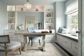 Comfy modern desk chair in velvety blue