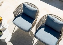 Comfy outdoor chairs with water-resistant cushions