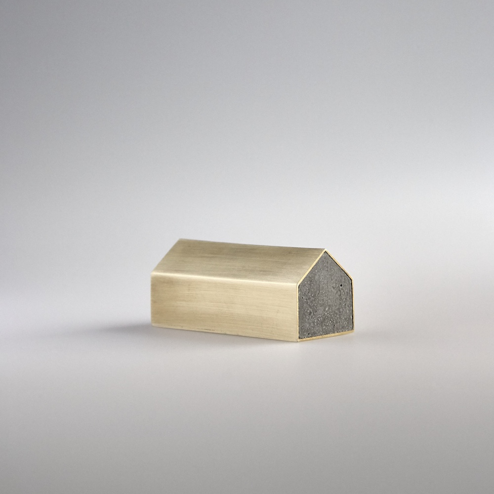 Concrete House Paperweight (Brass)