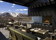 Consider the view outside before plannning a cool outdoor living space with fireplace
