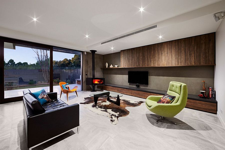 Contemporary and refined living area of renovated Caulfield home