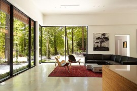 Contemporary decor and neutral color scheme give the interior a relaxing, modern vibe
