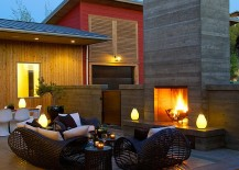 Contemporary patio and hangout with a cool, contemporary fireplace