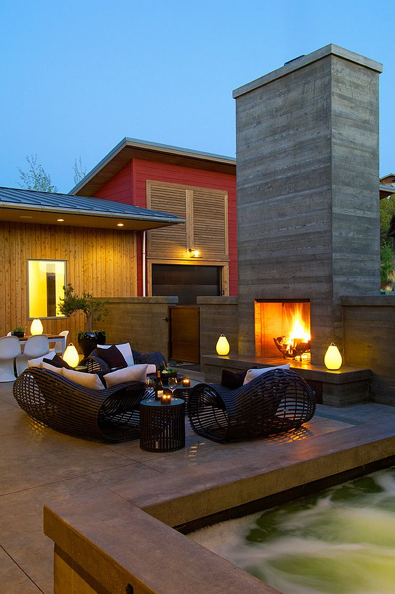 Contemporary patio and hangout with a cool, contemporary fireplace [Design: RCO Designers]