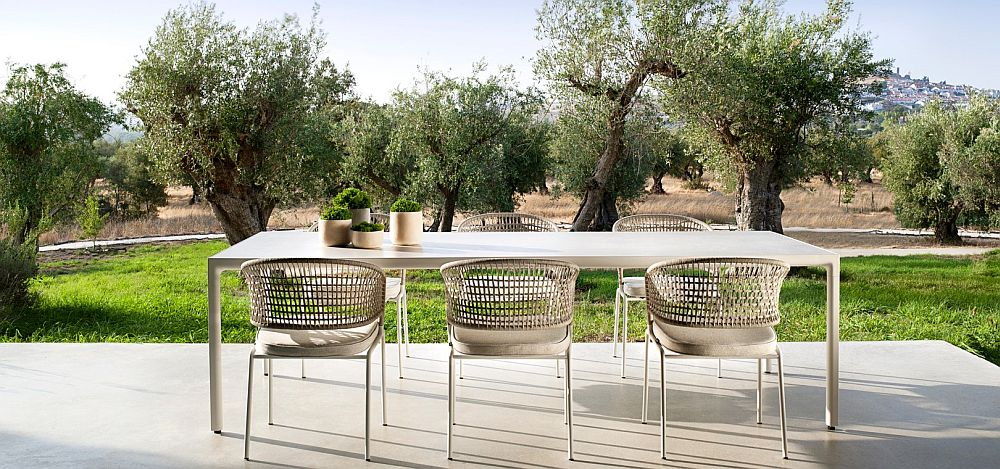 Contour outdoor chairs from Tribu by Piergiorgio Cazzaniga