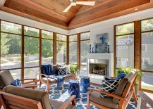 Cool cottage chic beach style sunroom with a splash of blue 217x155 25 Cheerful and Relaxing Beach Style Sunrooms