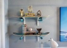 Cool, custom wall shelves crafted from skateboards