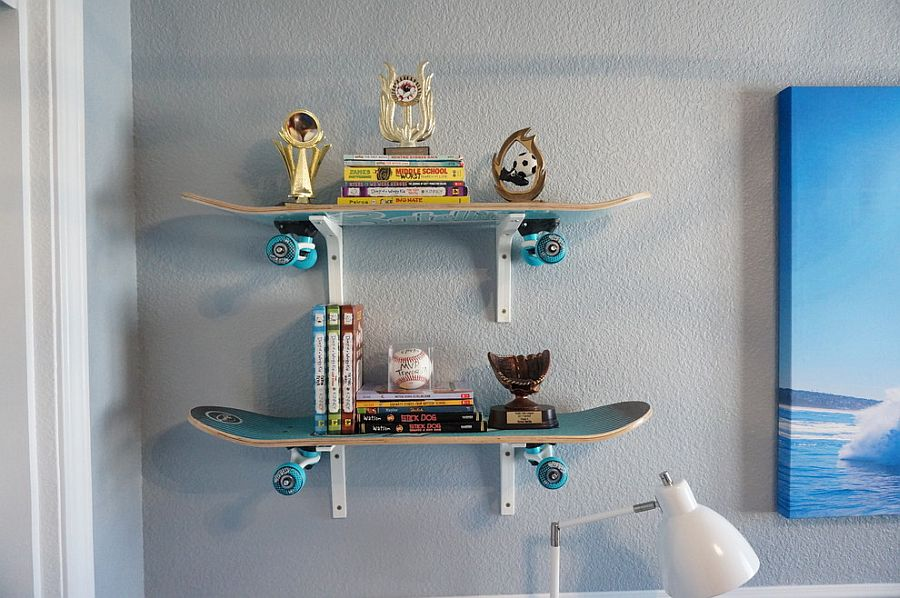 Cool, custom wall shelves crafted from skateboards [Design: Alina Druga Interiors]