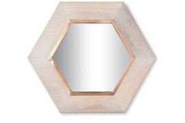 Copper and wood hexagon mirror from Target