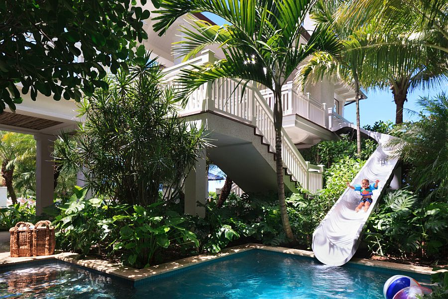 ... Custom Beachfront Residence Features A Slide That Leads To The Pool! [ Design: BCB
