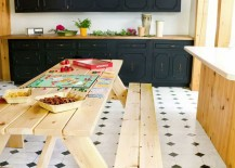 Custom knotty pine picnic table from Landing Design