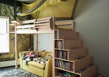 Custom stair shelves are a popular option in kids rooms with bunk and loft beds