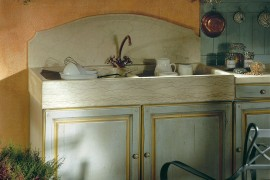 Custom stone sink is perfect for the dreamy Mediterranean kitchen