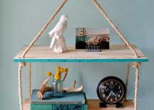 DIY hanging rope shelf from Homedit