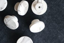 DIY marble drawer knobs from A Beautiful Mess