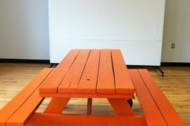 DIY orange picnic table with wheels