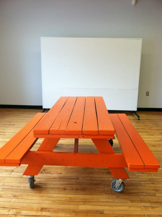 DIY orange picnic table with wheels