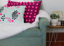 DIY pom pom pillow from A Beautiful Mess