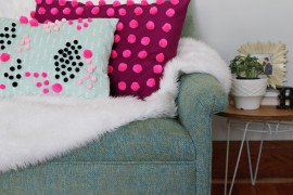 DIY pom pom pillow from A Beautiful Mess