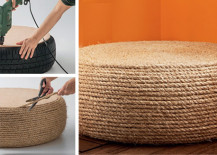 DIY rope ottoman from DIY For Life