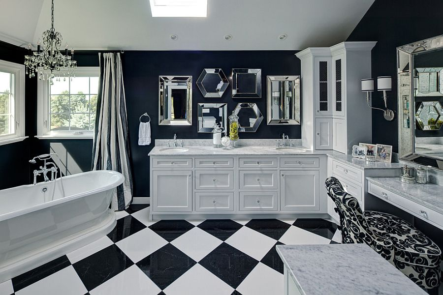 Dashing master bathroom with a collection of mirrors above the vanity [Design: Drury Design]